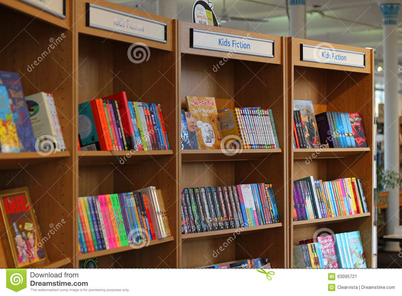 Library Books On Shelves-kids Fiction Editorial Photo