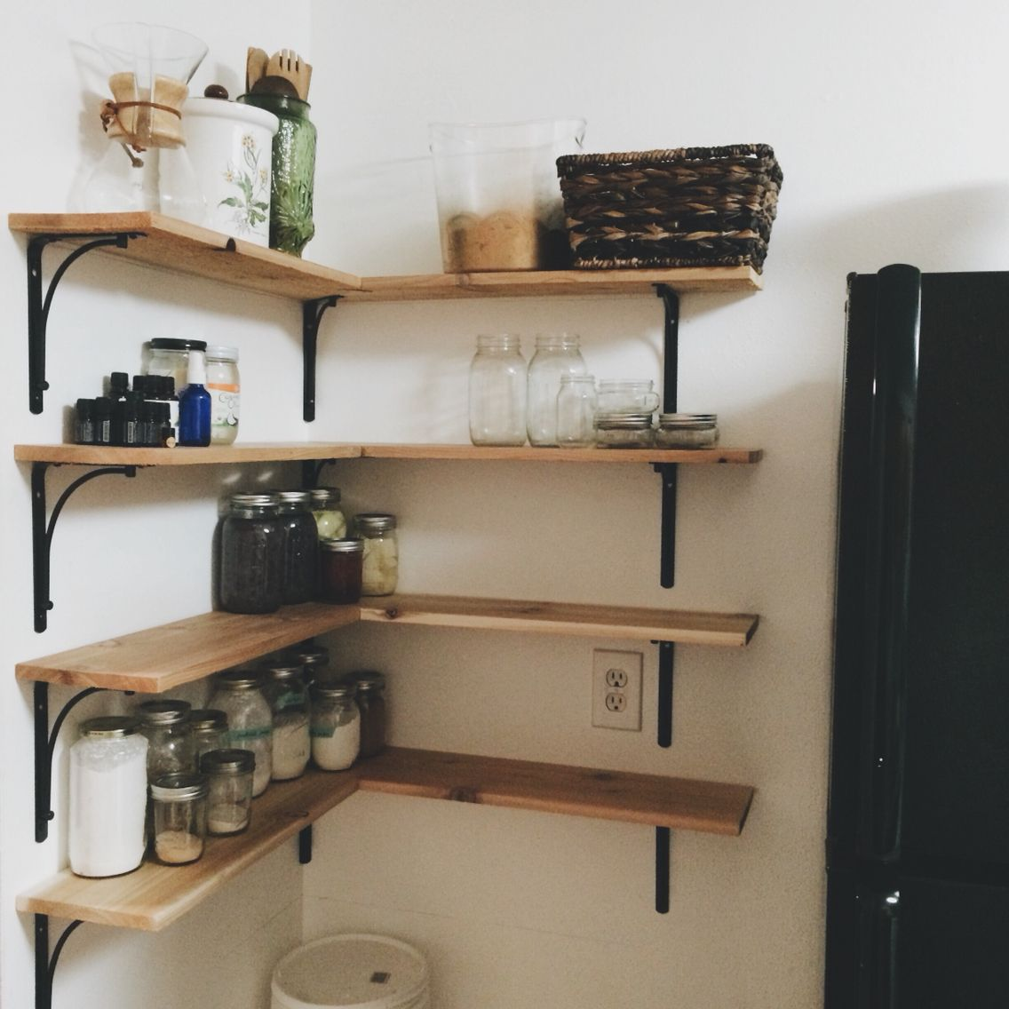 Cedar Shelves Built By My Husband To Make Use Of Some Corner