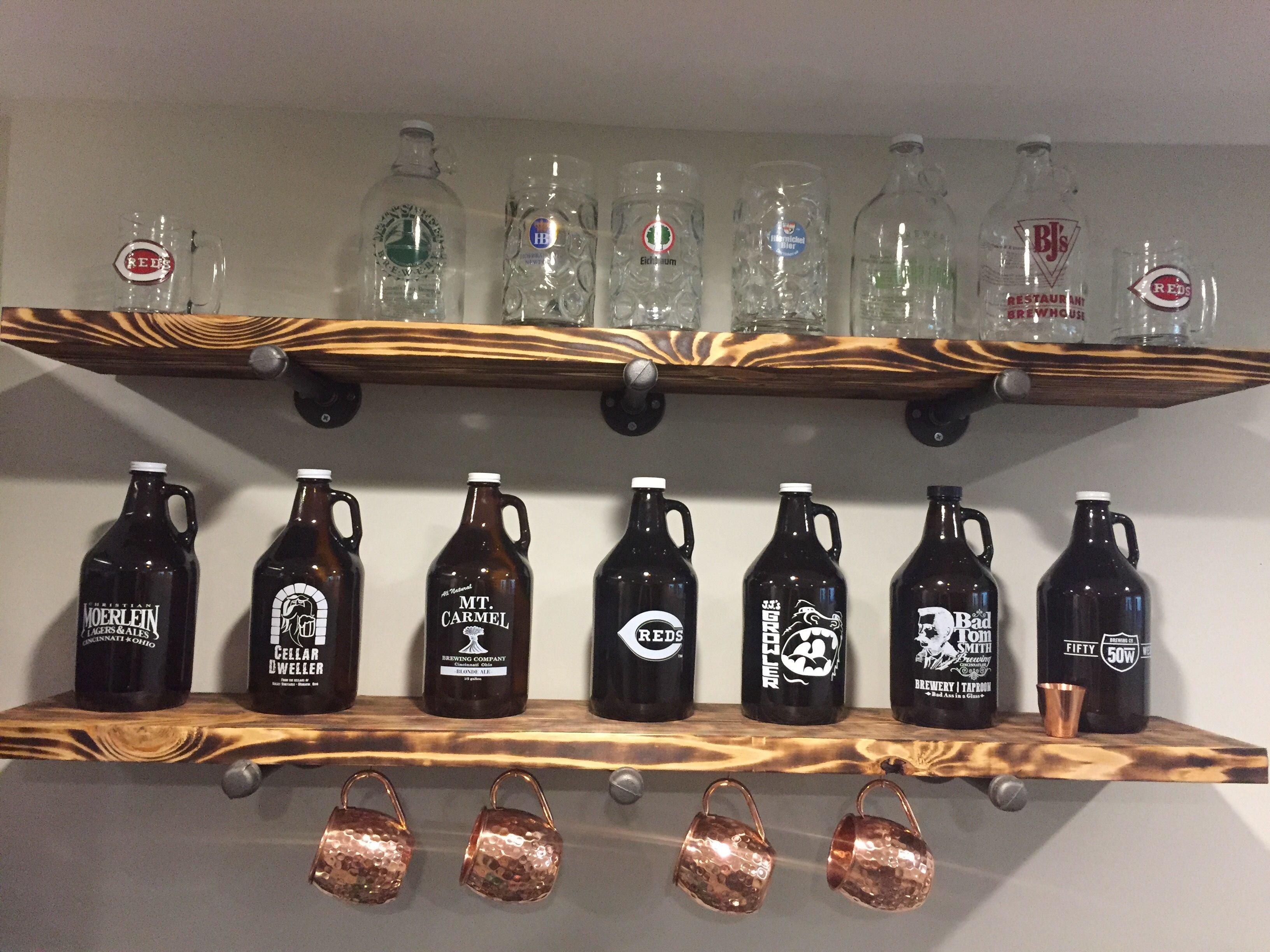 My Husband Torched Pine Wood To Make Shelves For Growler