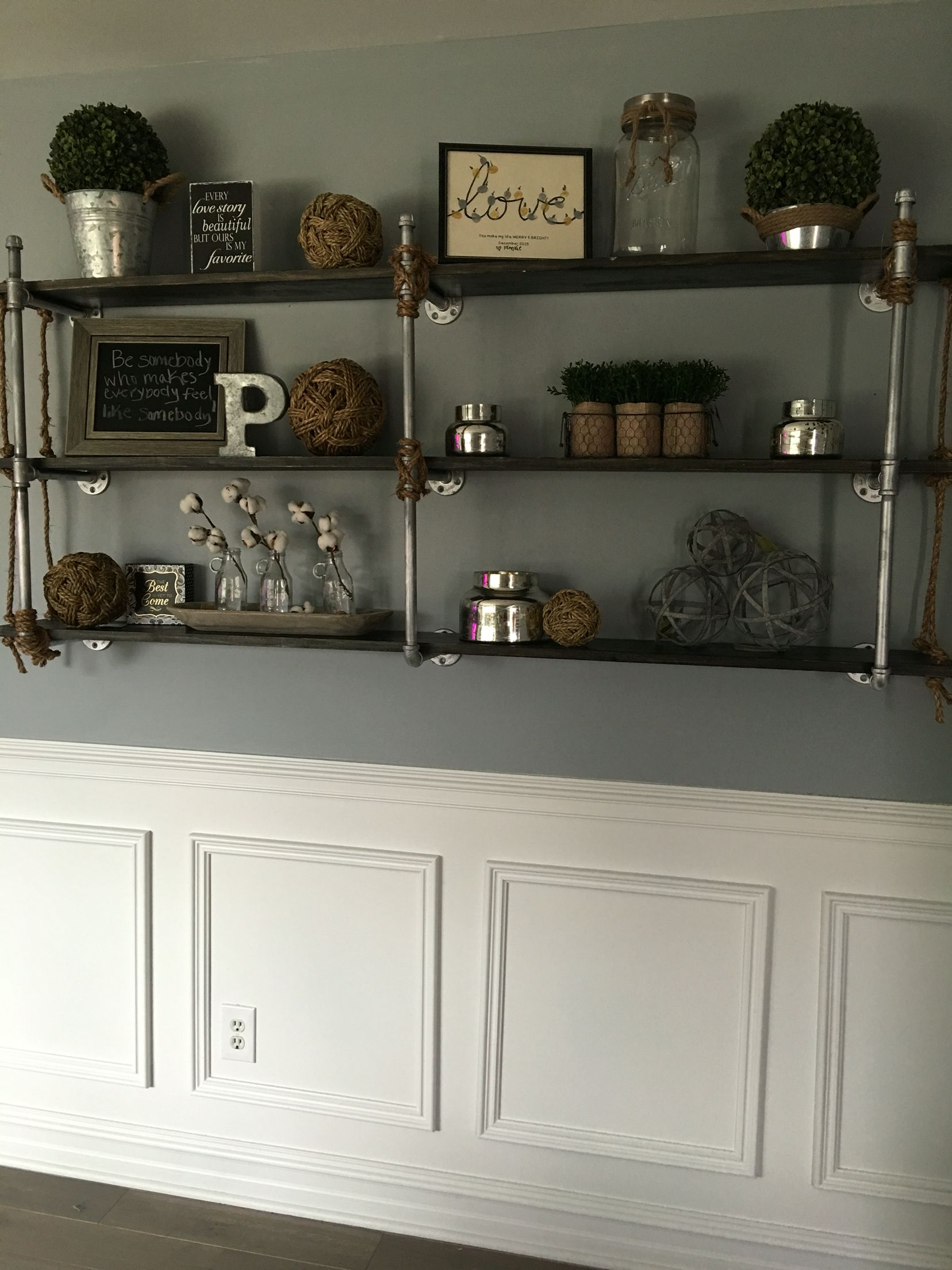 Wood And Plumbers Pipe With Rope Shelves Built By My Husband