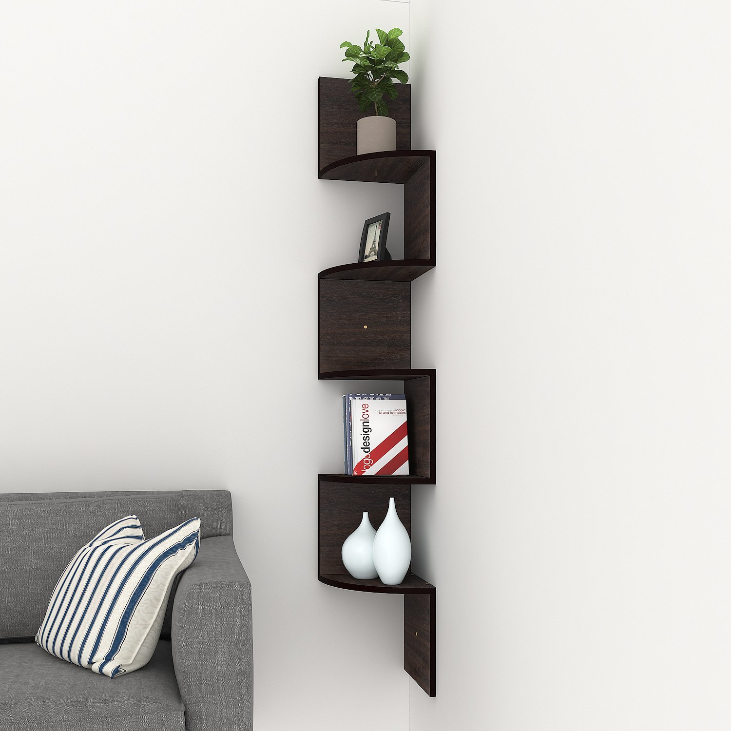 Homdox Corner Shelf, 5 Tier Corner Shelves Zig Zag Wall Mount Shelves  Floating Shelves For Living Room, Bedroom, Bathroom, Office, Kitchen  (coffee)