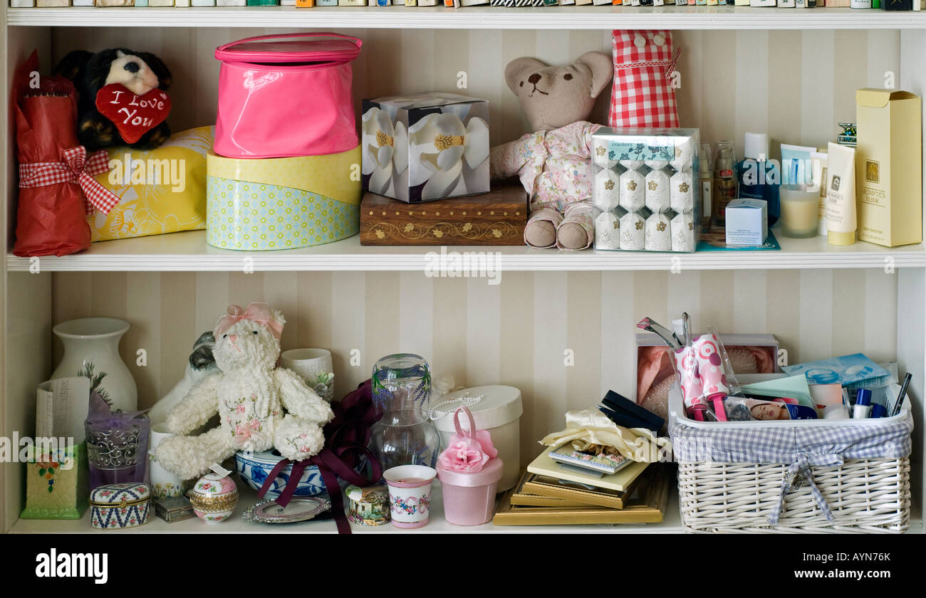Two Shelves In Young Girls Bedroom With Soft Toys Pretty