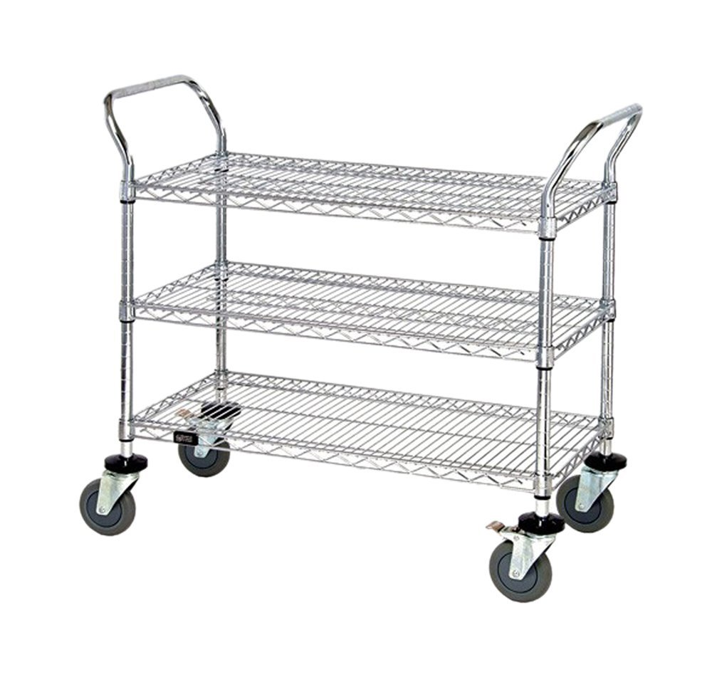 """Quantum Storage Systems Wrc-2436-3 3-tier Wire Utility Cart With 3 Wire  Shelves, Chrome Finish, 37-1/2"""" Height X 36"""" Width X 24"""" Depth"""