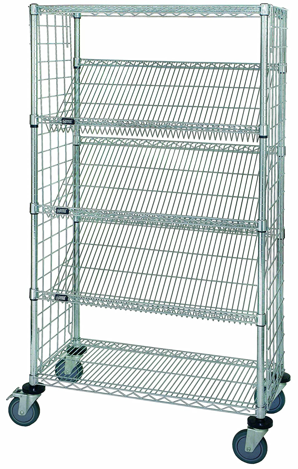 """Quantum Storage Systems Wrcsl5-63-1836ep 5-tier Slanted Wire Shelving  Suture Cart, Enclosed, 2 Horizontal And 3 Slanted Shelves, Chrome Finish,  69"""""""