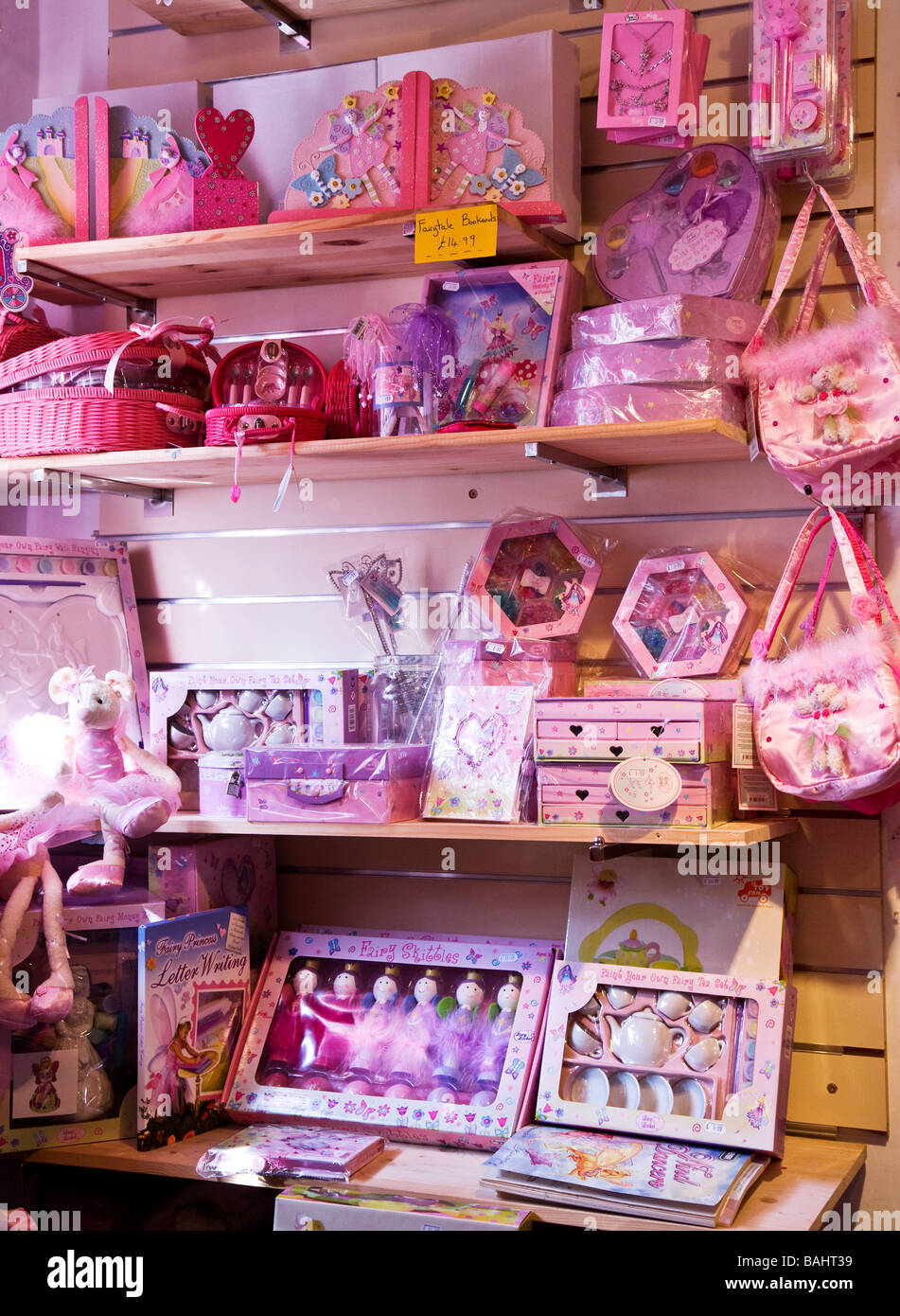 Shelves Of Pink Little Girls Fairy Lucy Locket Toys Inside A