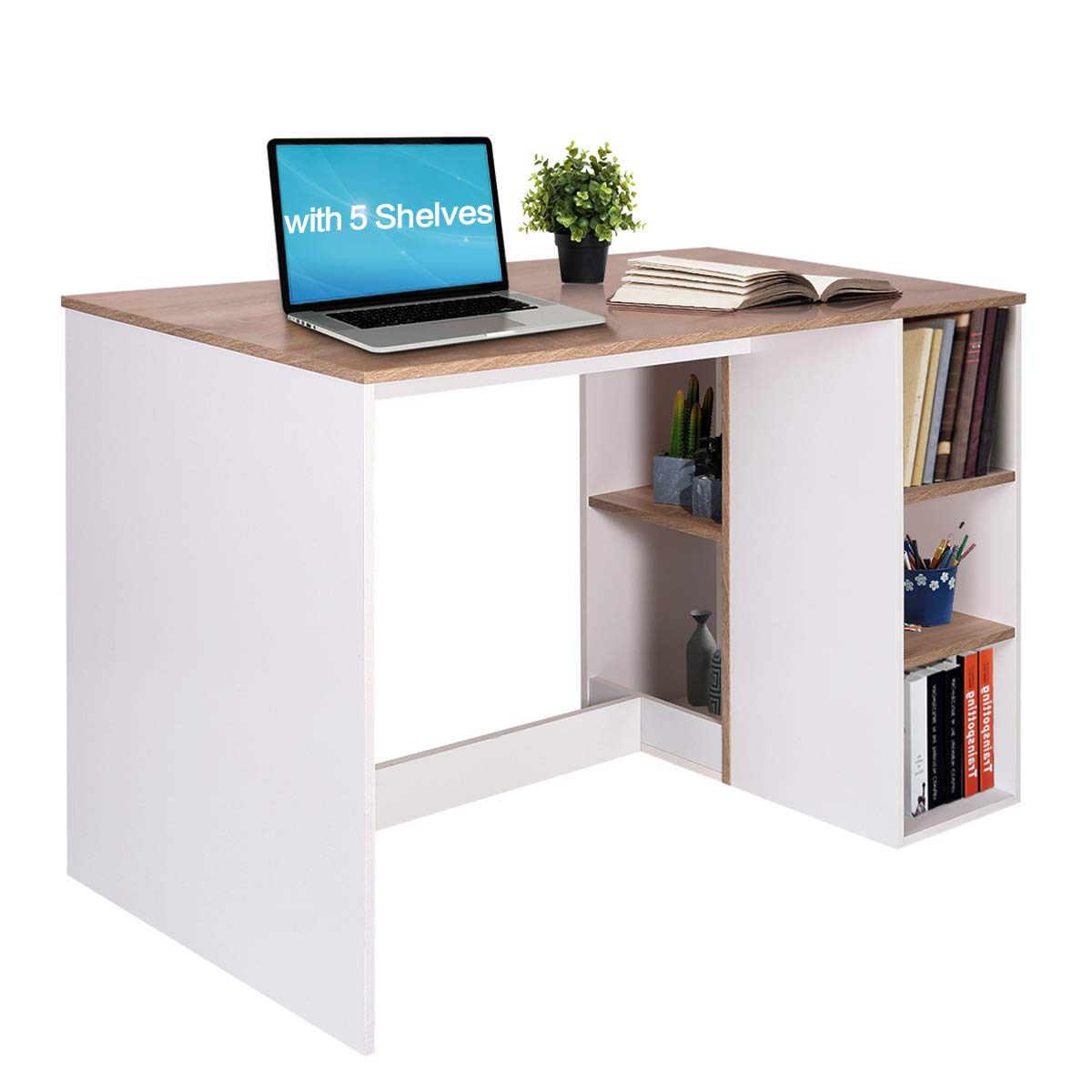 Reception Room Tables With Storage, Large Work Desk With 5 Shelves  Students-study Desk Home-office Pc Laptop Study Table Modern Wood  Workstation With