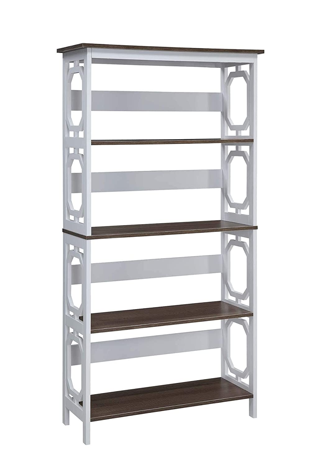 Convenience Concepts 203250wdftw Omega 5 Tier Bookcase, Driftwood  Shelves/white Frame