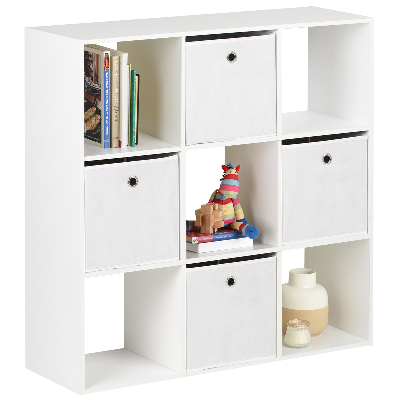 Details About Hartleys White 9 Cube Shelving Unit Storage Furniture Shelves  & 4 Fabric Boxes