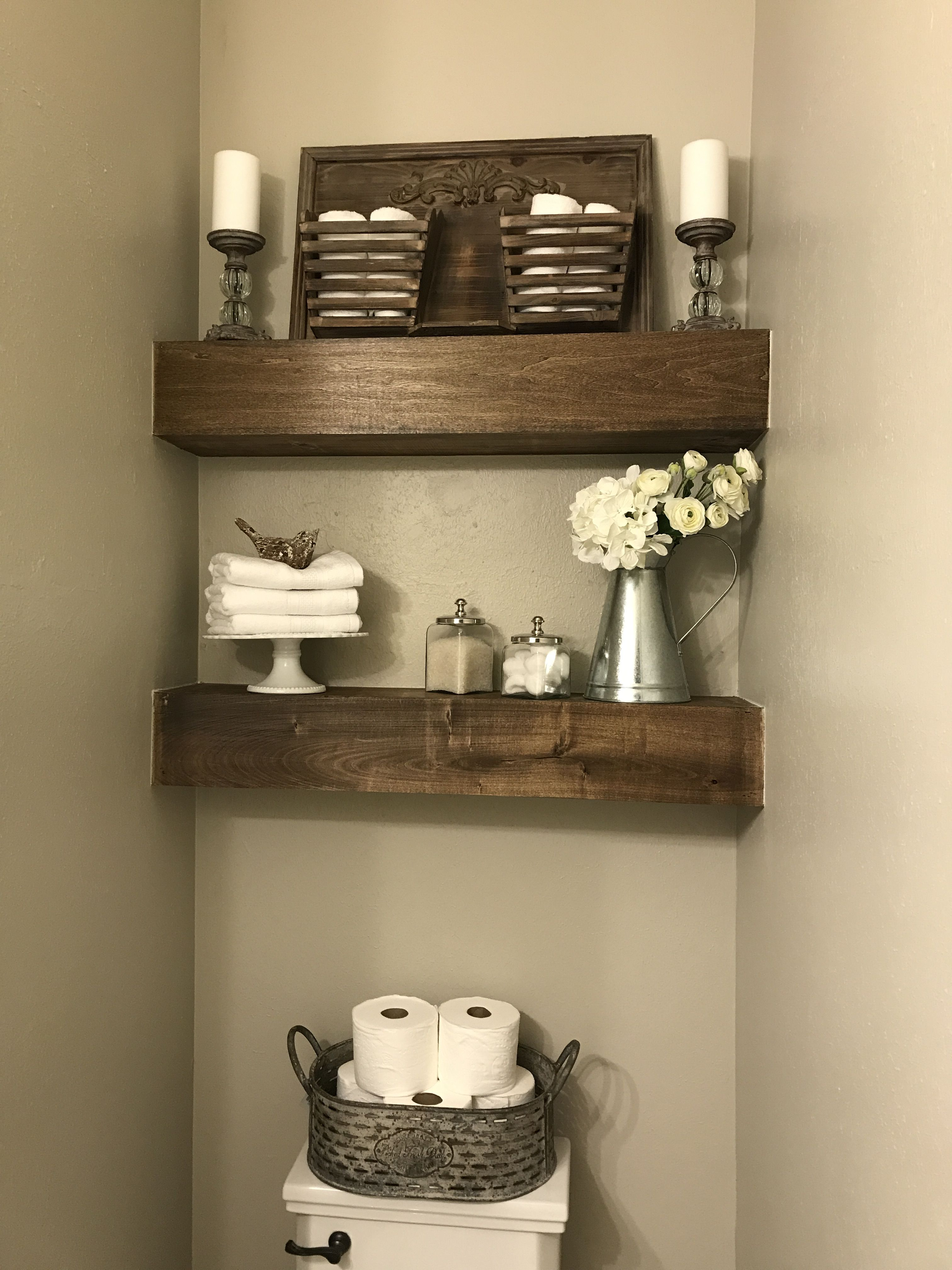 Open Shelves In Powder Room Installed And Decorated By