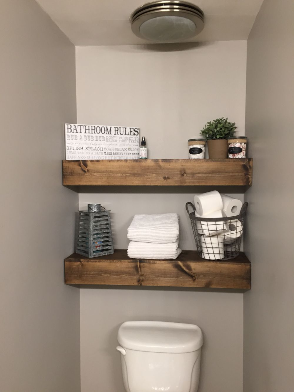 We Built These Chunky Wood Shelves In Our Bathroom!! I Love