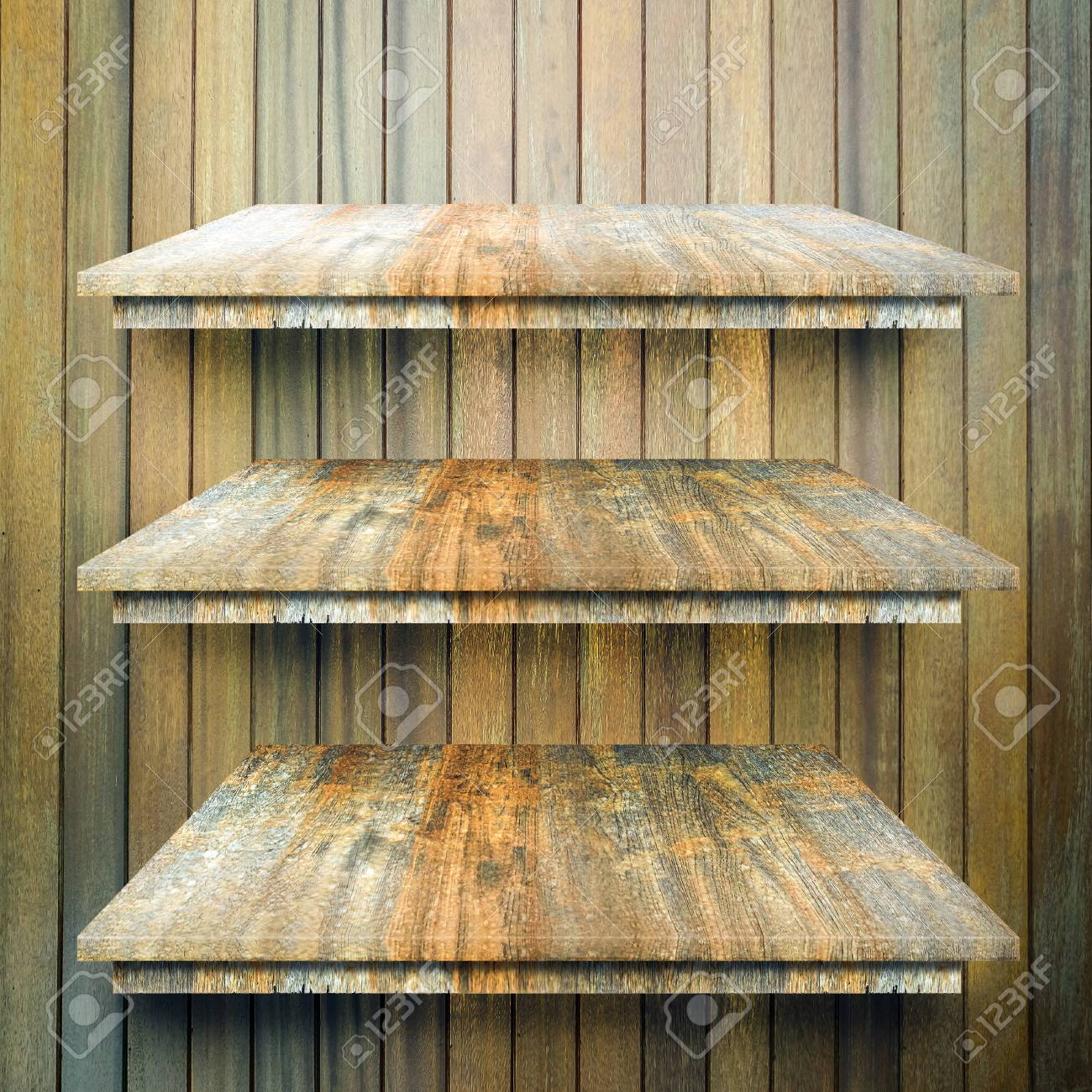 Empty Top 3 Wood Layer Shelves Table With Wooden Wall Background