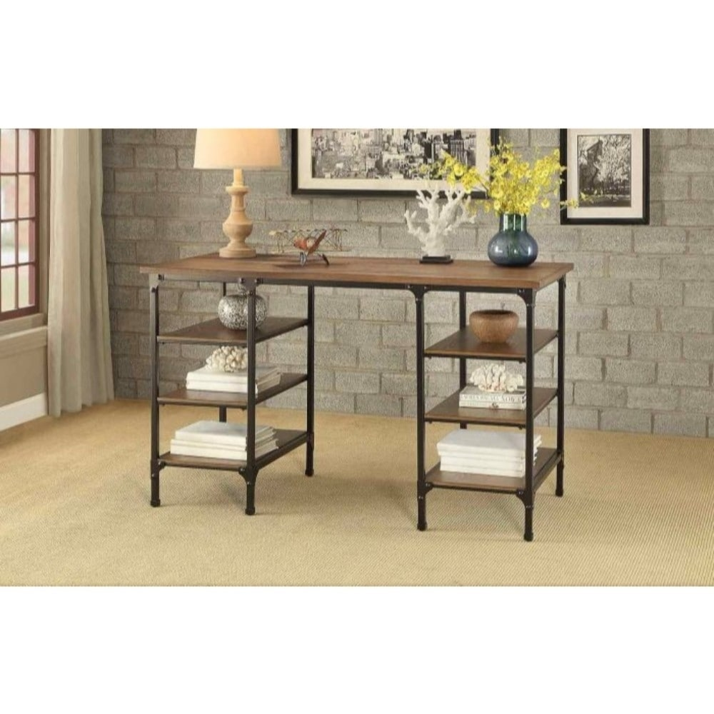 Industrial Style Counter Height Writing Desk With Wooden Top & Shelves,  Brown & Black