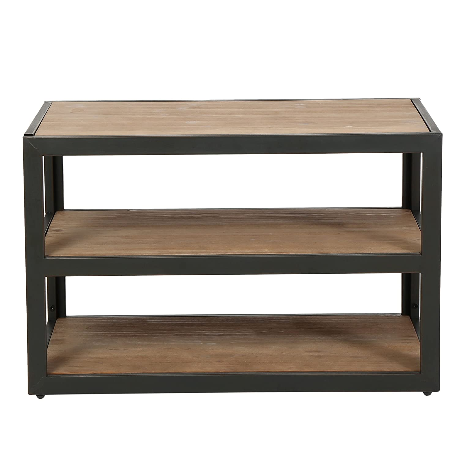 Modhaus Living Modern Industrial Rustic Brown 3-shelves Rectangle Shaped Tv  Stand Media Console | Wooden Top And Black Metal Frame, Living Room Decor