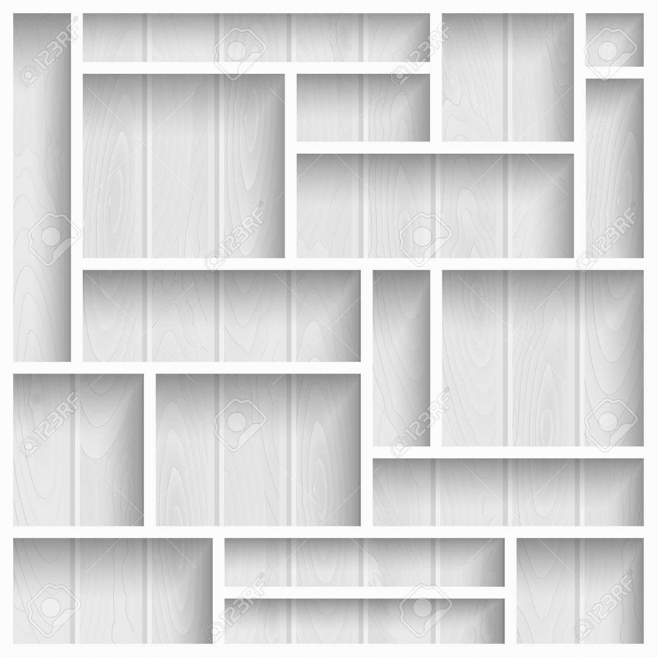 Empty White Shelves On The Wooden Wall In Gray Colors, Vector
