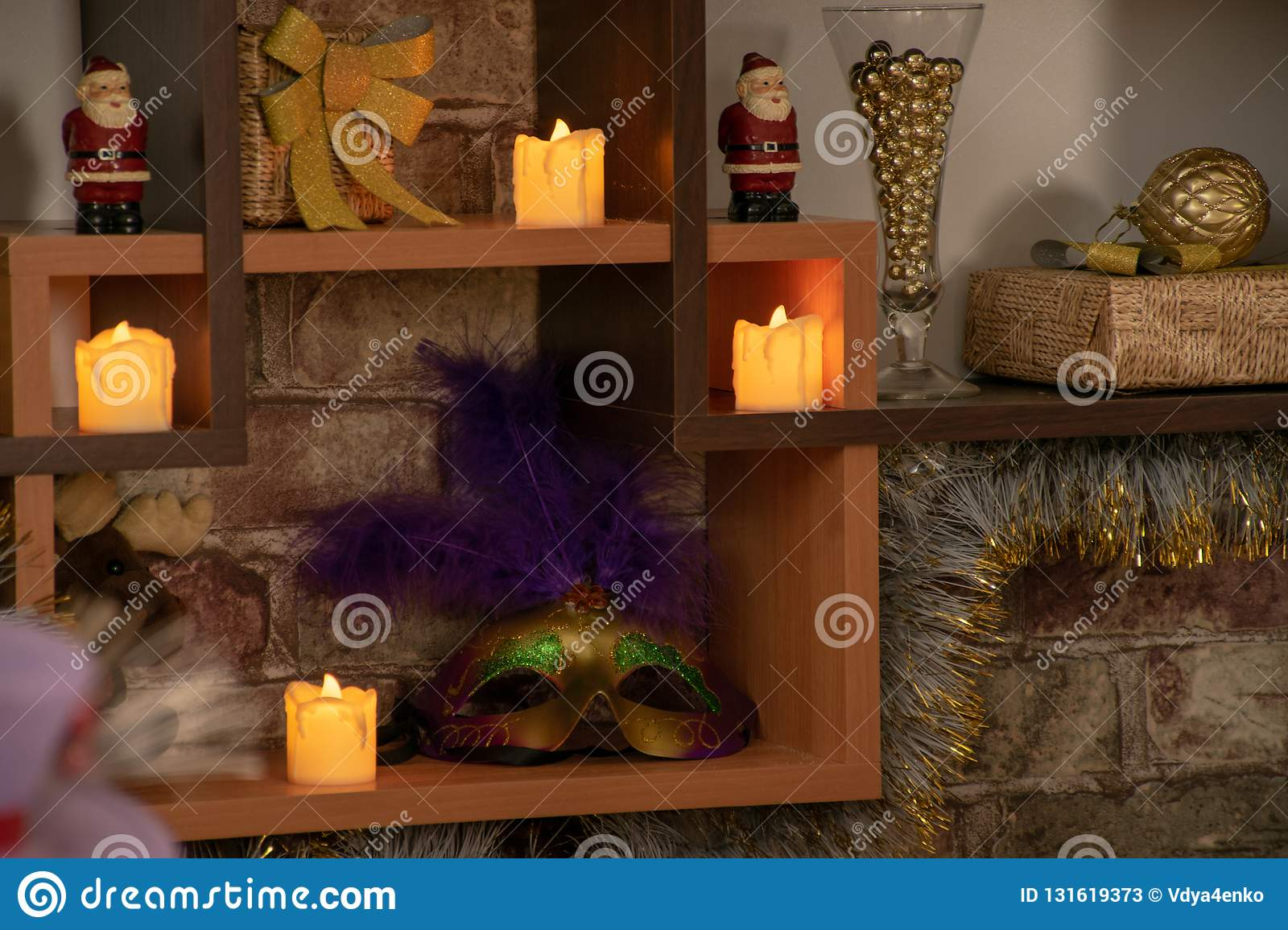 Tree Shelves With Christmas Decorations Stock Image - Image