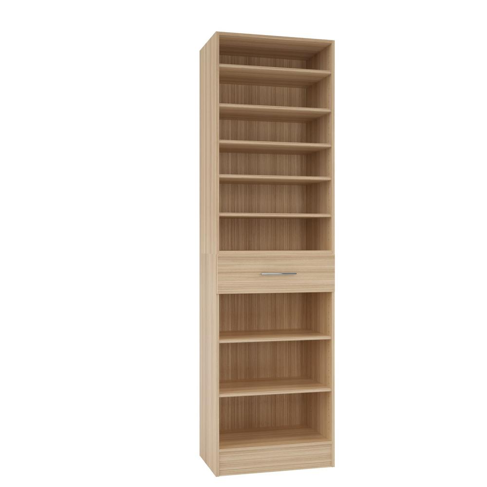 Home Decorators Collection 15 In D X 24 In W X 84 In H Calabria Beach  Melamine With 9-shelves And Drawer Closet System Kit
