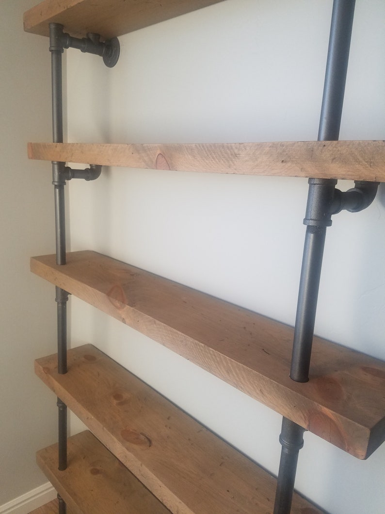Pipe Book Shelf With 2 Thick Rough Sawn Wood Shelves  