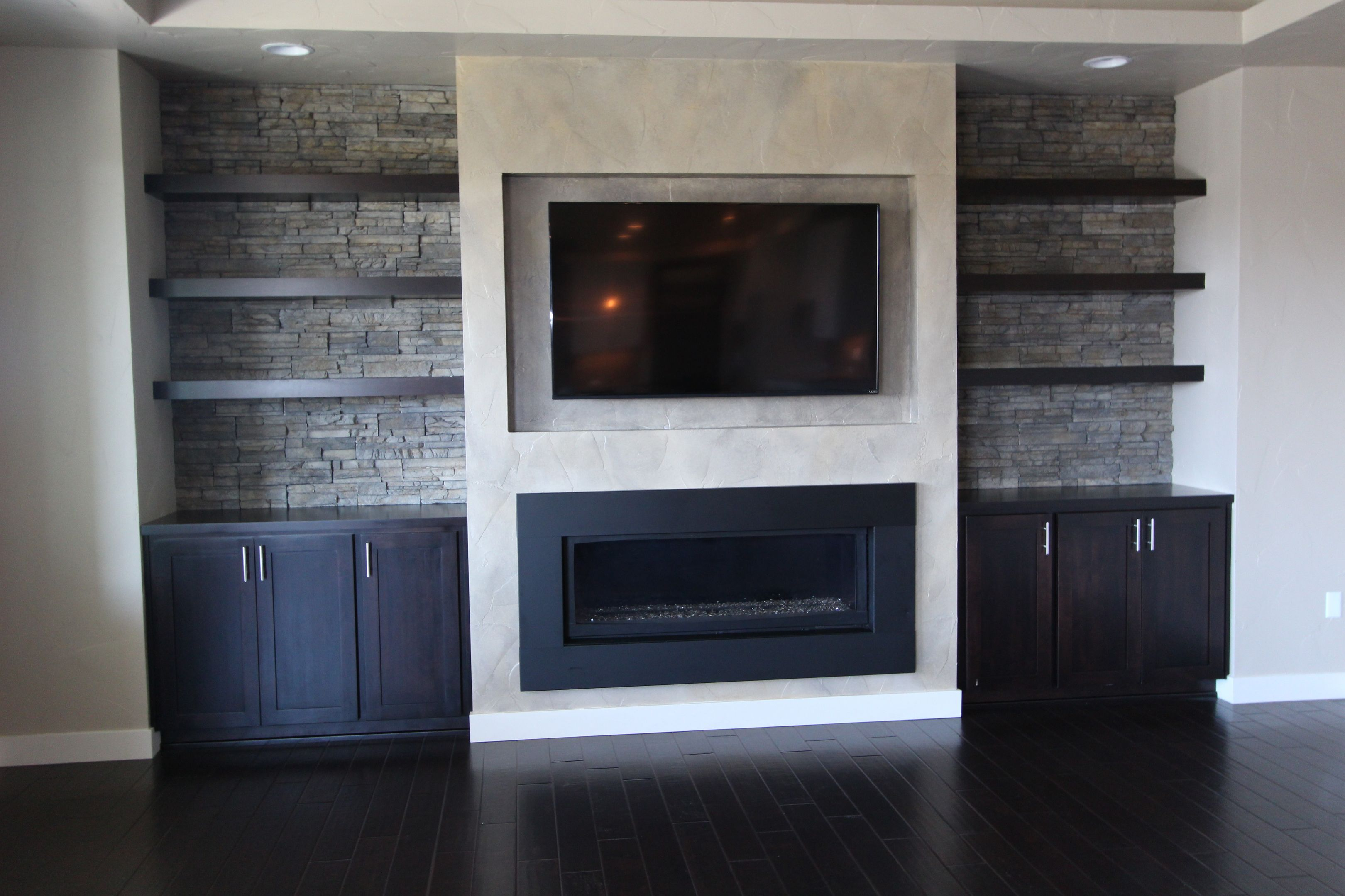 Modern Wood Fireplace And Tv    Shelves Tv Above The