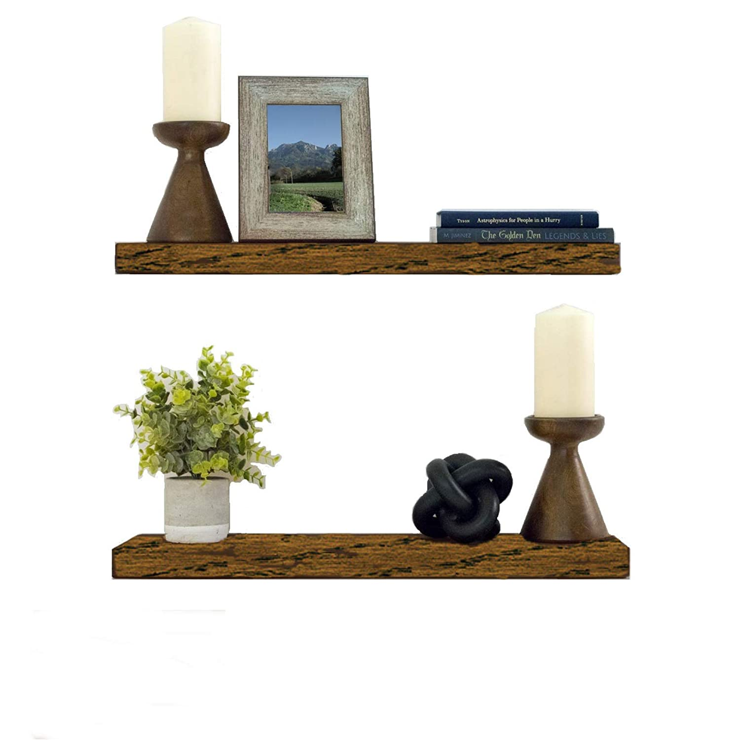 Floating Shelves Wood Floating Shelves Set - New England Handcrafted Rustic  Pine Kitchen Office Bedroom Wall Mounted Smooth Finish Organizers 2 Pack