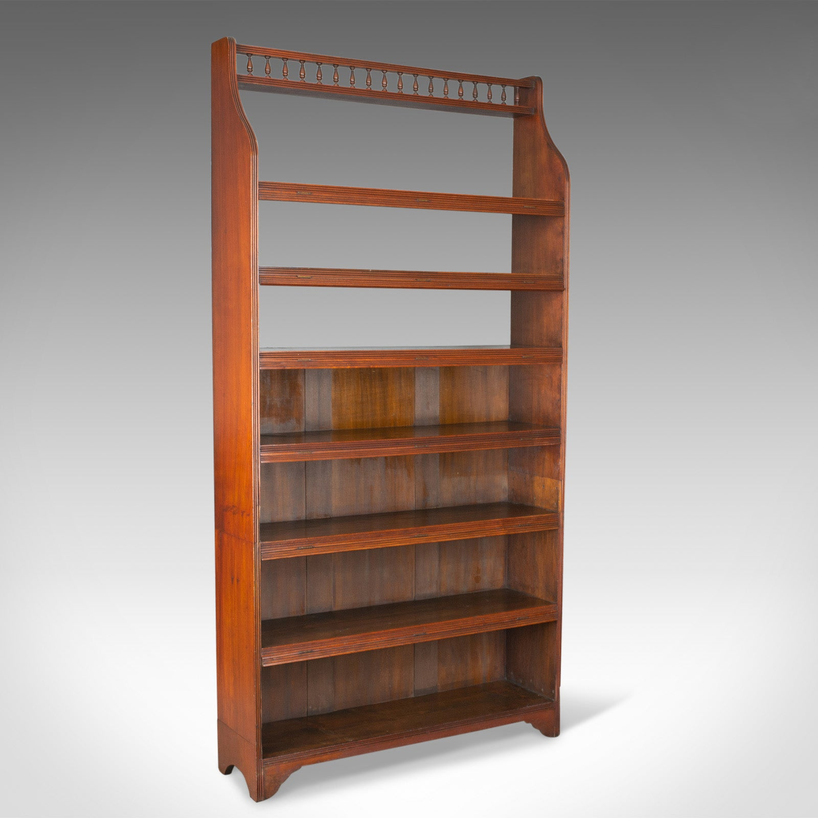Details About Antique Open Bookcase, Tall, English, Walnut, Book Shelves,  Edwardian Circa 1910