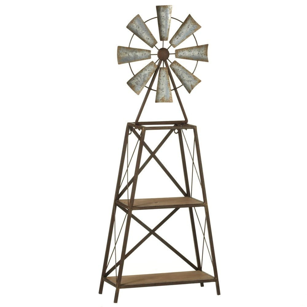 """3675"""" Silver And Brown Vintage Rustic Look Windmill With Two-tier Shelves  - N/a"""