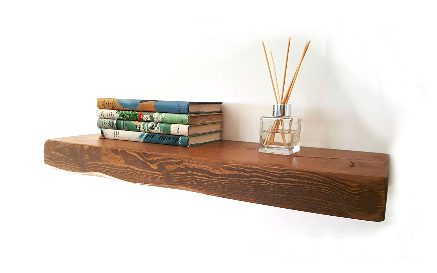 Floating Shelves Reclaimed Solid Wood Rustic Wall Shelf In Medium Oak  Finish 1ft Long - Perfect For Living Room, Kitchen, Bathroom, Office