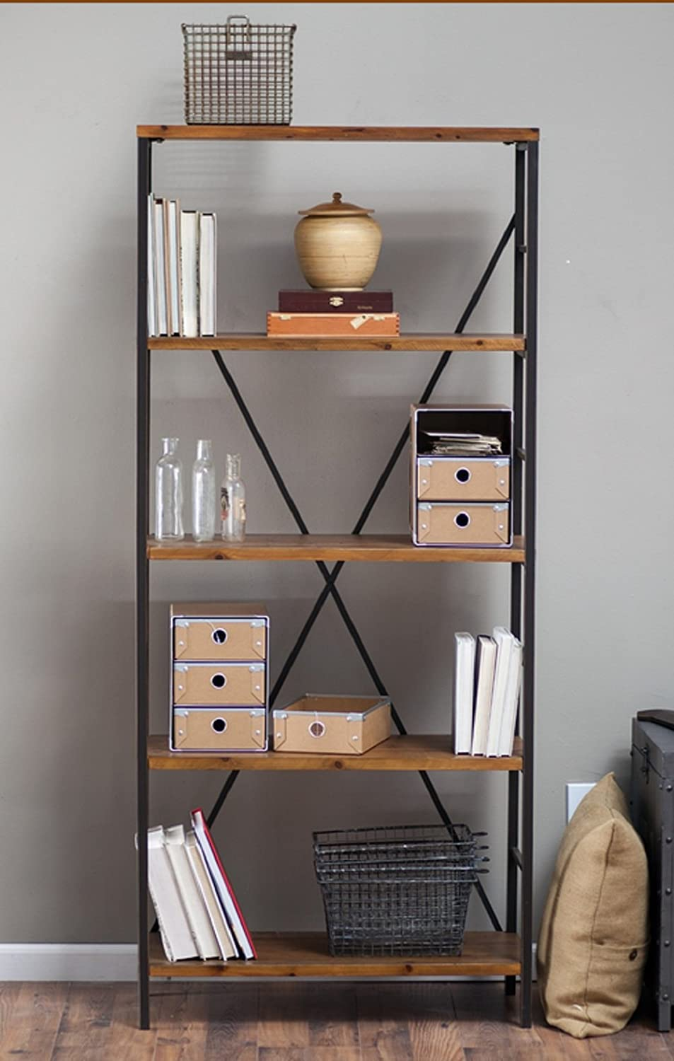 Rustic Wood Bookcase With Adjustable Shelves Featuring An Industrial,  Factory Look - 100% Satisfaction Guarantee