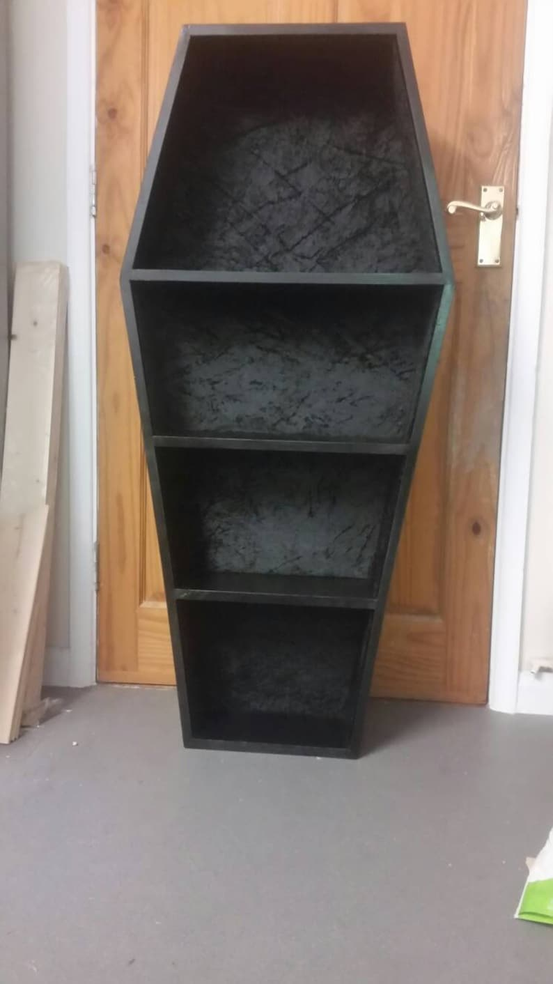 Large Handmade Gothic Coffin Shape Curio Display Shelves Book Or Dvd Storage