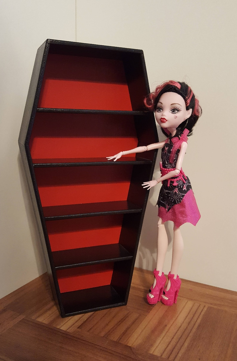 Red And Black Coffin Shelves/ Doll Coffin Shelf/ Miniature Coffin/  Playscale Coffin/ Doll House Coffins/ Barbie Size Coffin/ Macabre/ Witch
