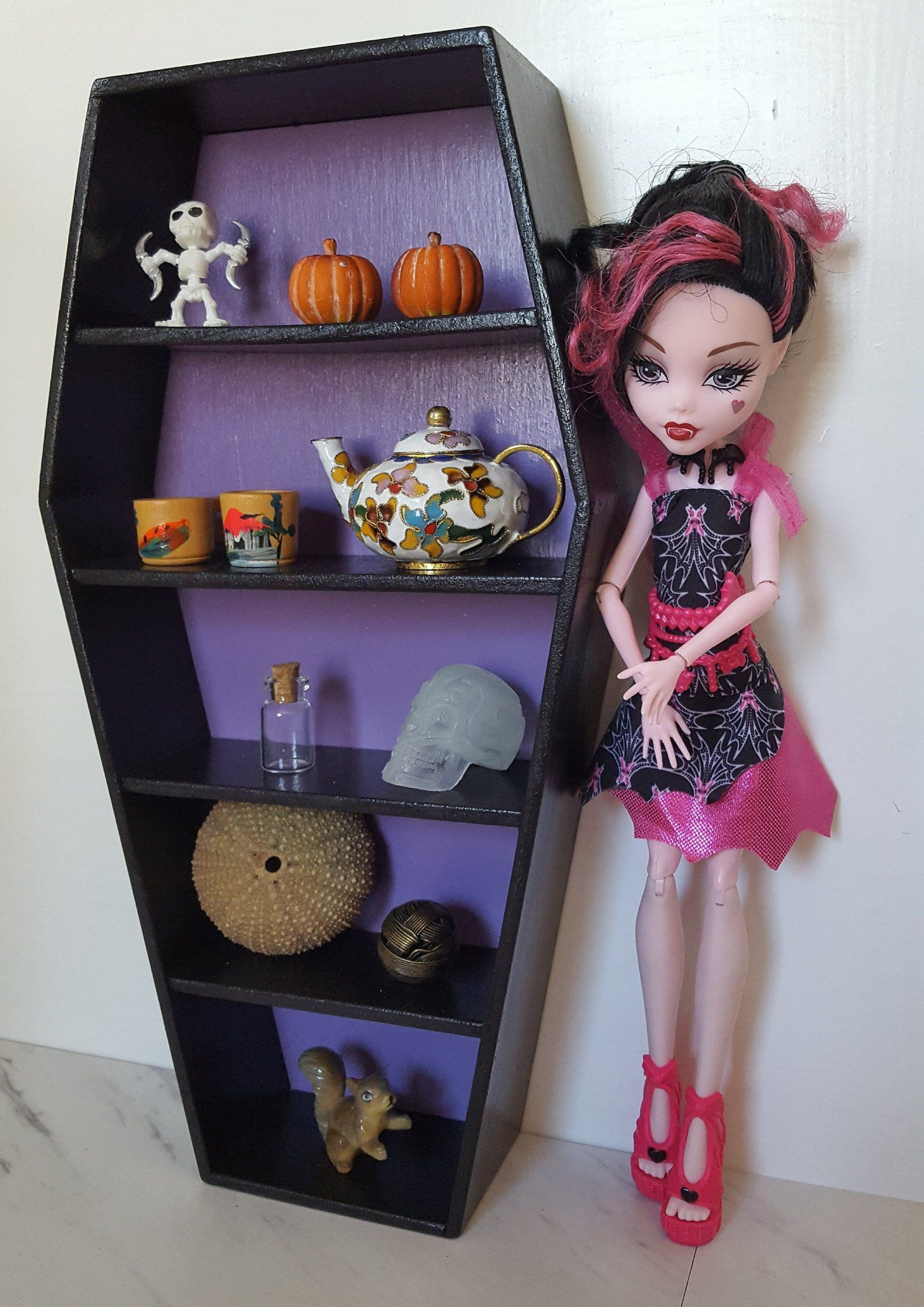 Black And Purple Coffin Shaped Shelves Playscale Barbie