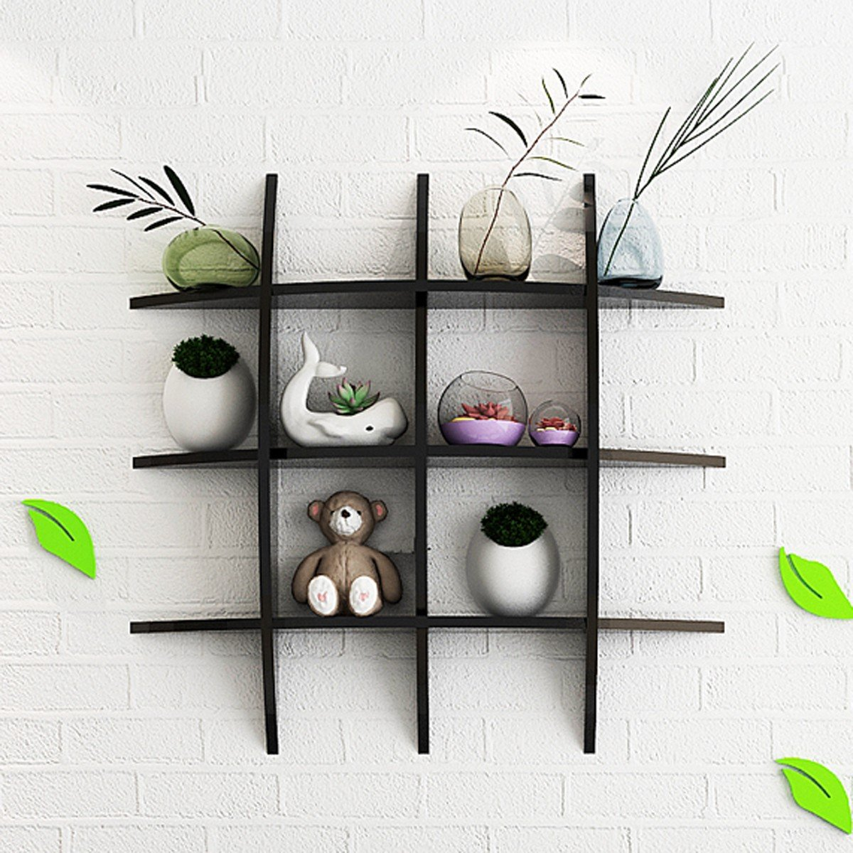 Cross Floating Wall Mount Shelf Set Storage Holder Organizer Shelves  Shelving