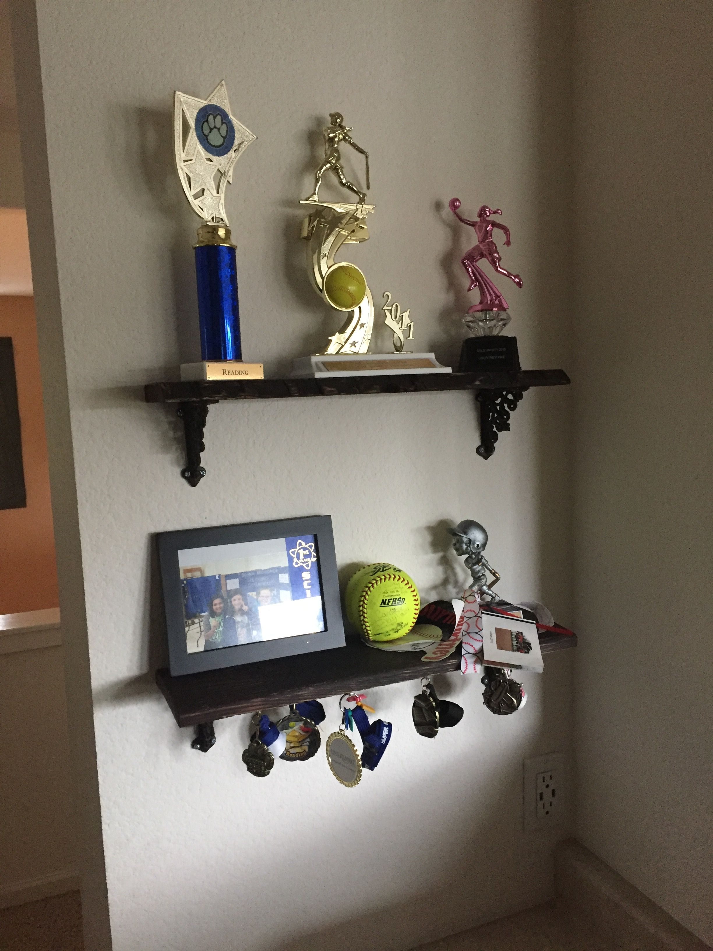 Trophy Shelves Using Pallet Wood And Hobby Lobby Brackets