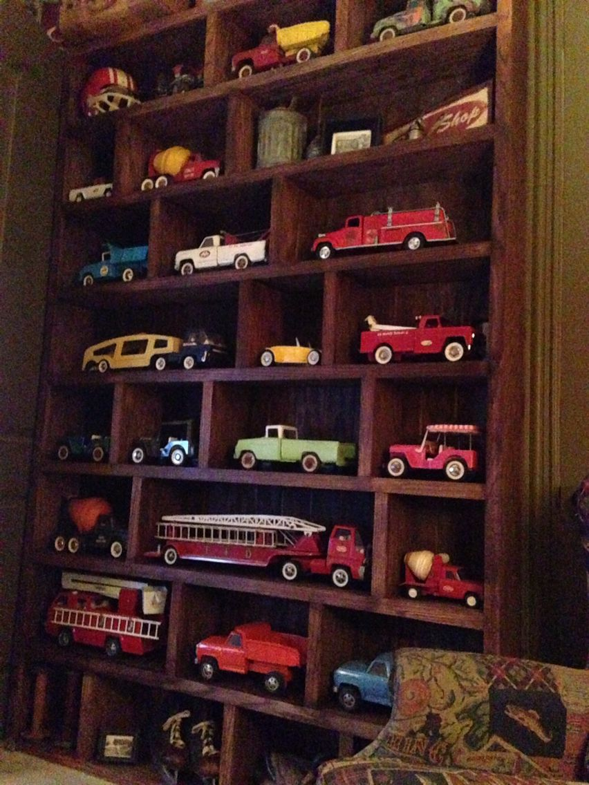 Vintage Tonka Truck Book Shelves In Man Cave | Man Cave