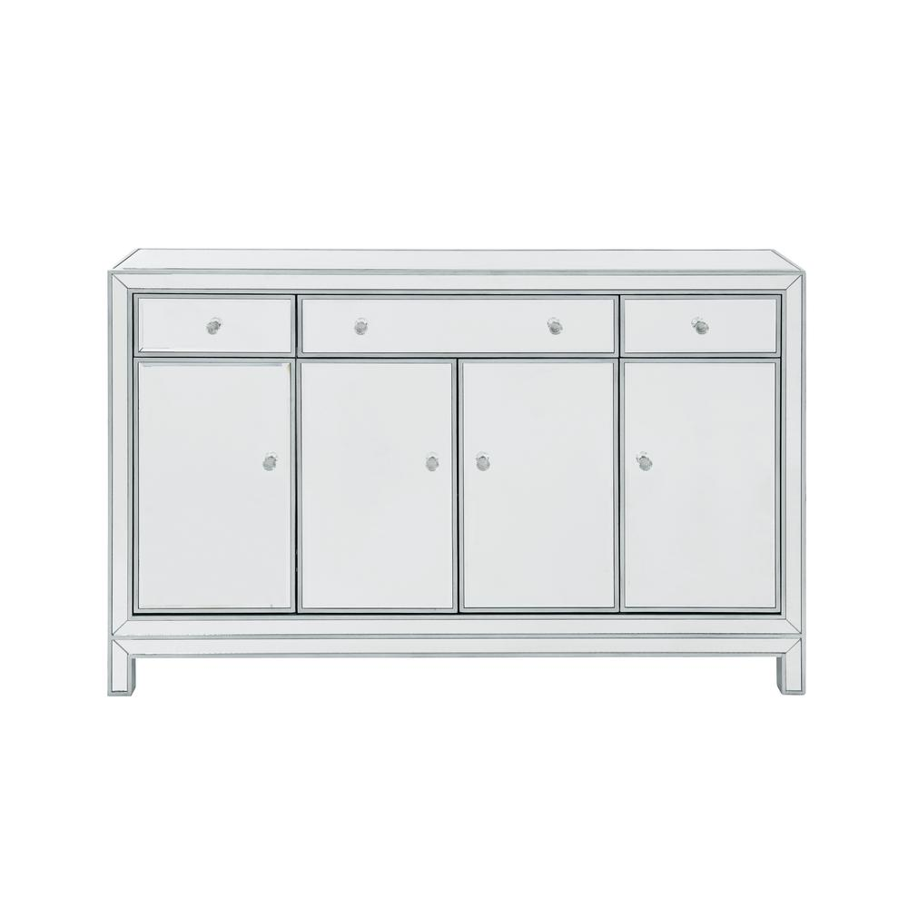 Plywell Assembled 56x36x13 In Base Buffet Cabinet With 3-drawers 3-shelves  4-doors In Antique Silver Paint