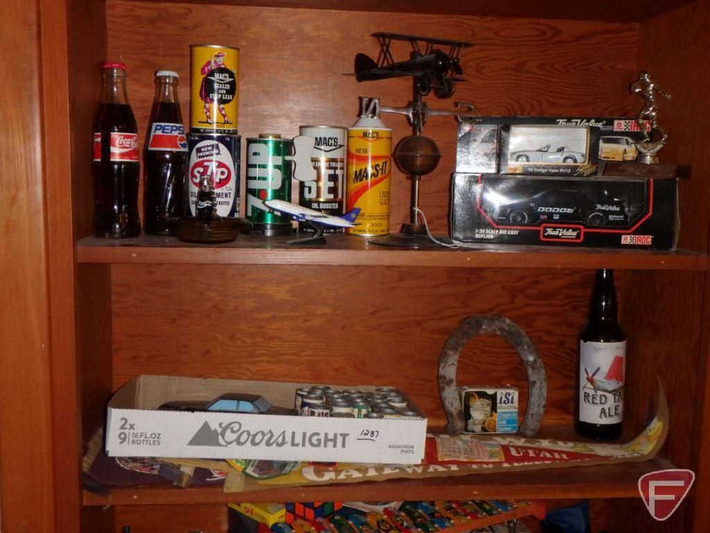 Lot: Contents Of Two Shelves: Model Cars, Pennants, Patches