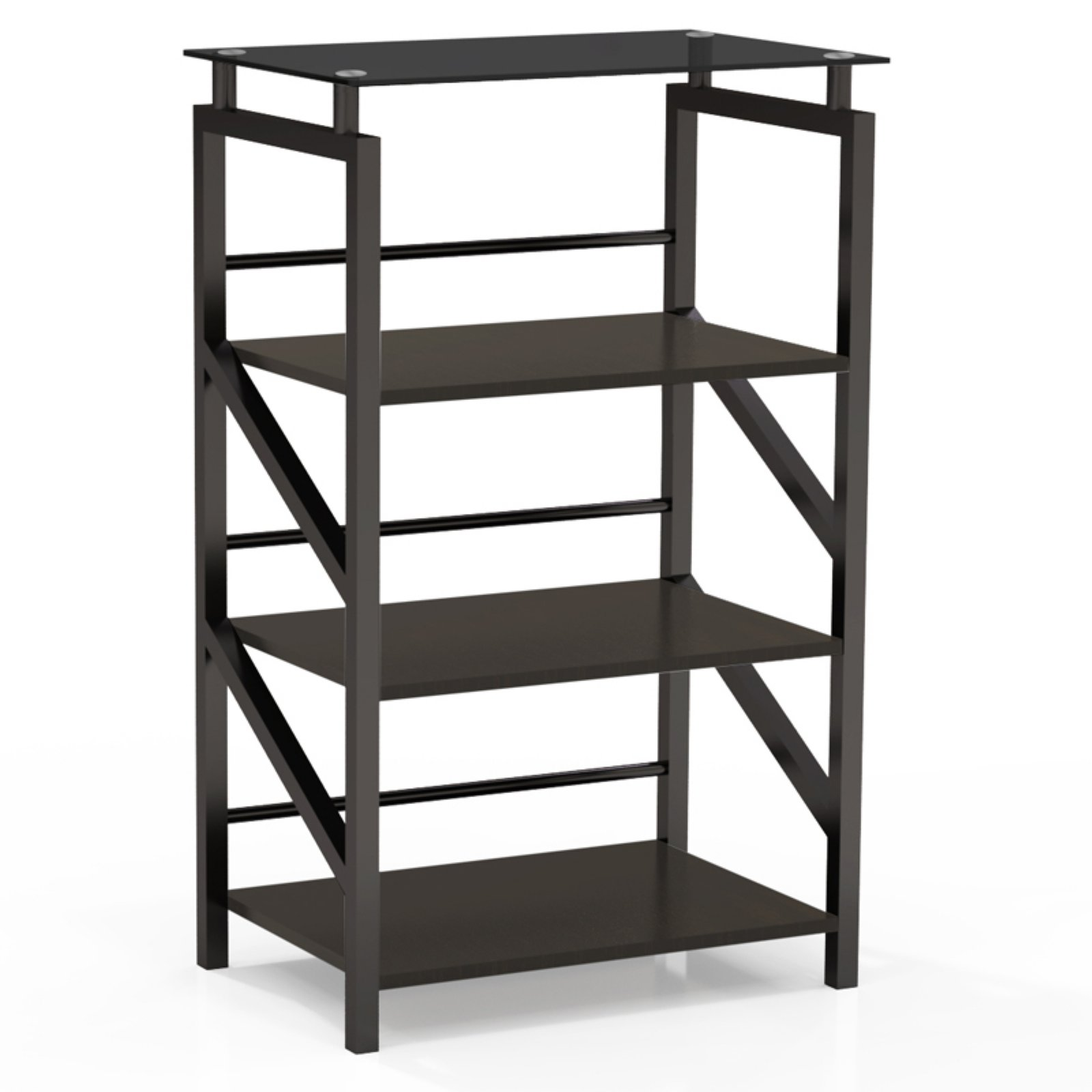 Mayline Soho Glass Top Accent Shelves Bookcase
