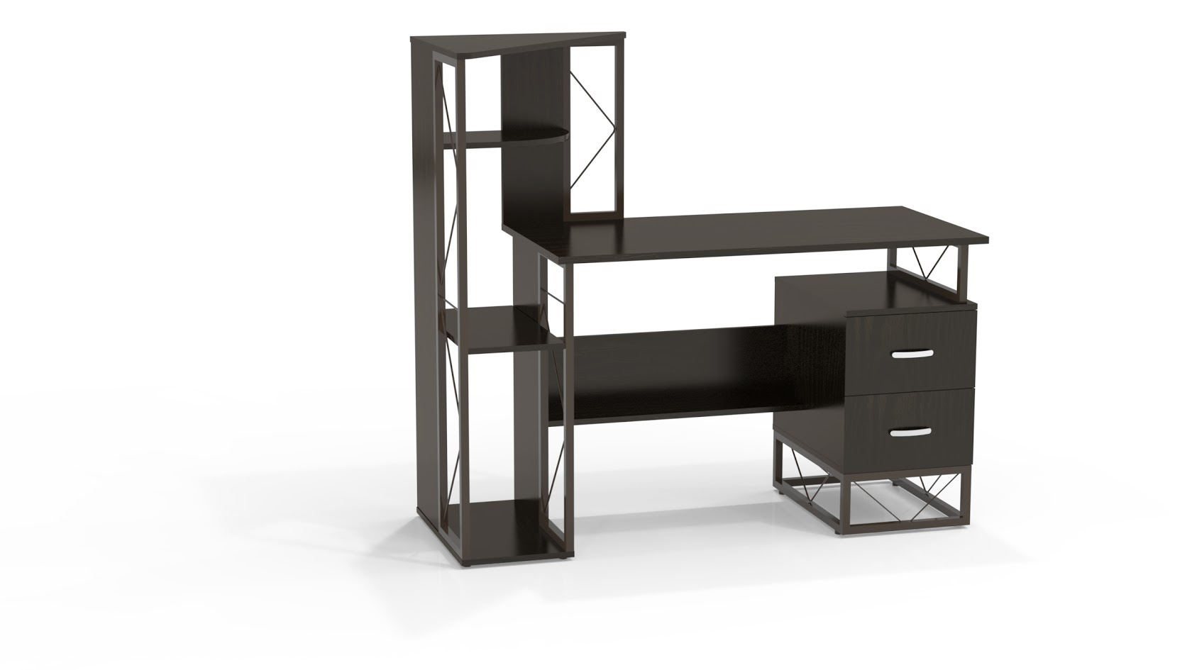 Mayline 52′w Soho Storage Desk With Box/box Pedestal And Shelves-new!  Available In Natural Wood Or Black!