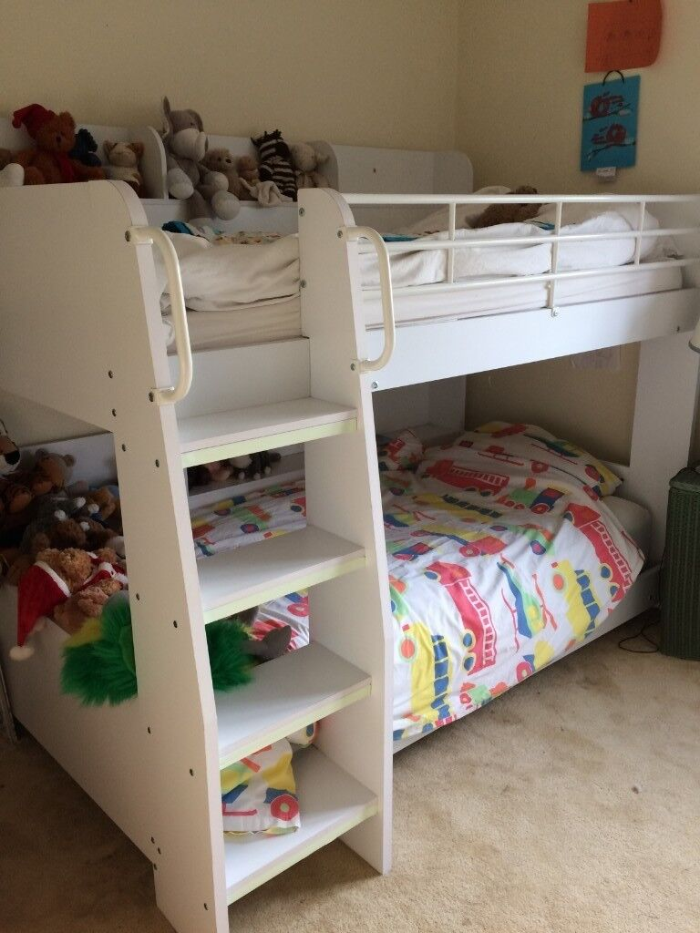 Julian Bowen Domino White Wooden Bunk Bed With Shelves & Lilluminated Flat  Comfy Steps | In Kings Lynn, Norfolk | Gumtree