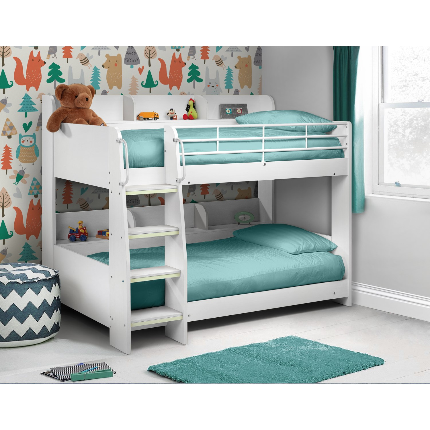 Details About Kids 3ft Bunk Bed In White Wooden Bed Frame With Storage  Shelves