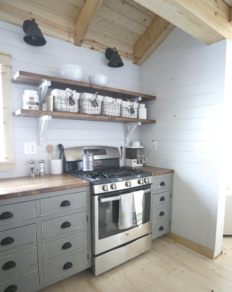 Open Shelves For Our Cabin Kitchen | Ana White