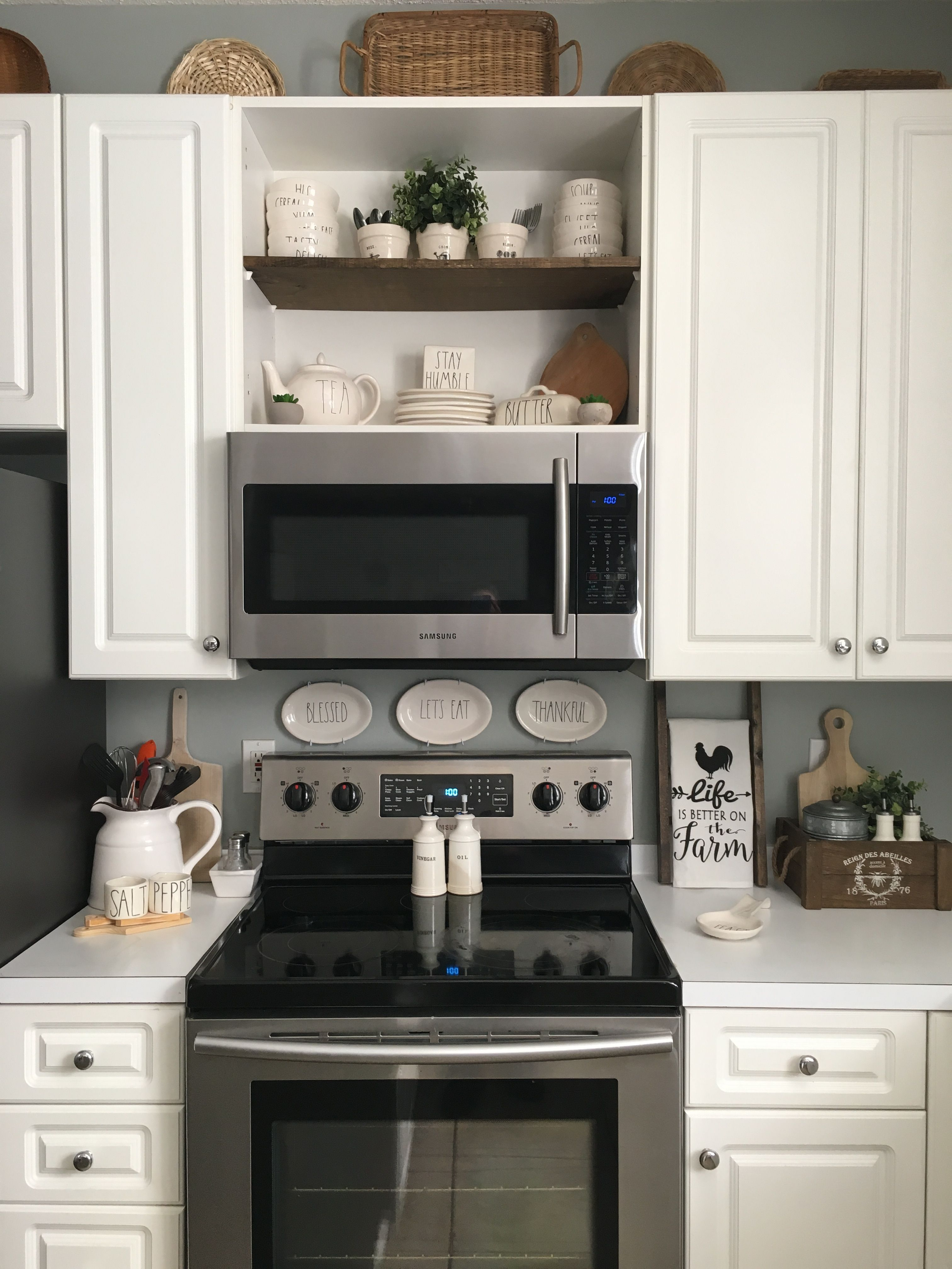 Open Display Shelves Above Microwave | Kitchen Ideas In 2019