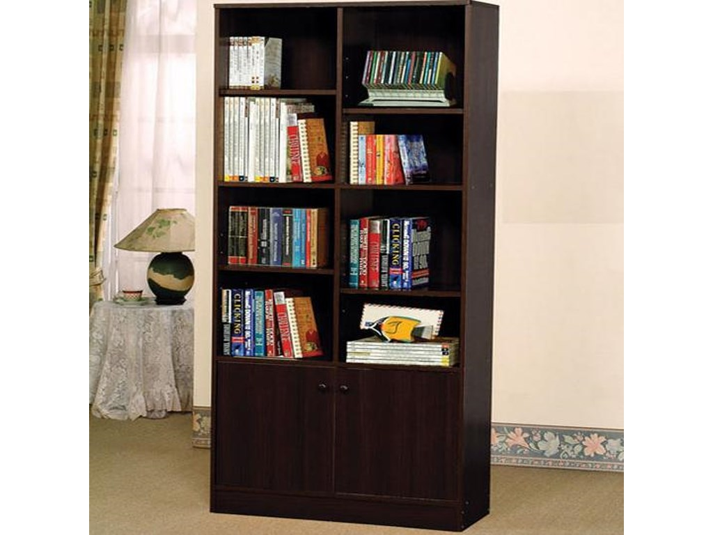 Verden Verden Book Shelf Cabinet With 8 Shelves And 2 Doors By Acme  Furniture At Nassau Furniture And Mattress