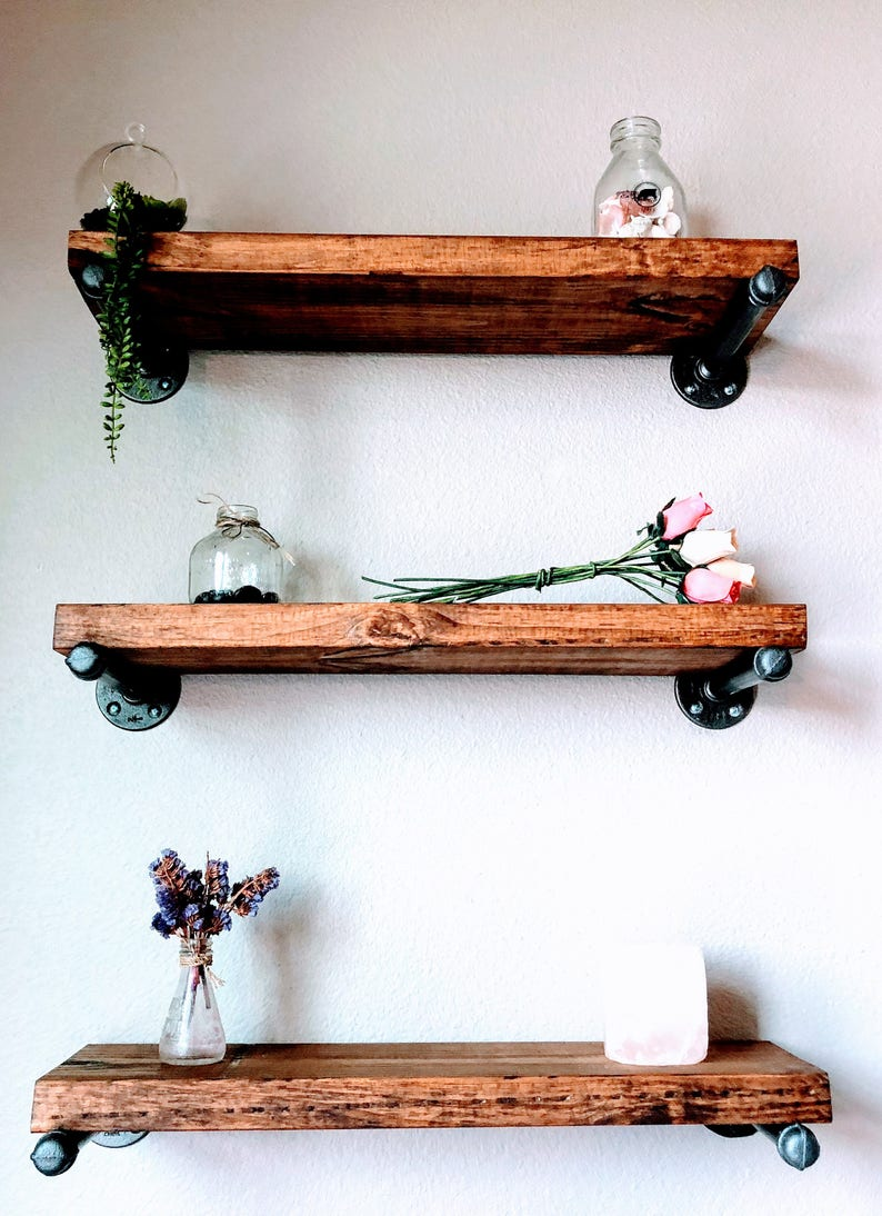 Rustic Pipe Shelves With Multiple Sizes Beautiful Rustic |
