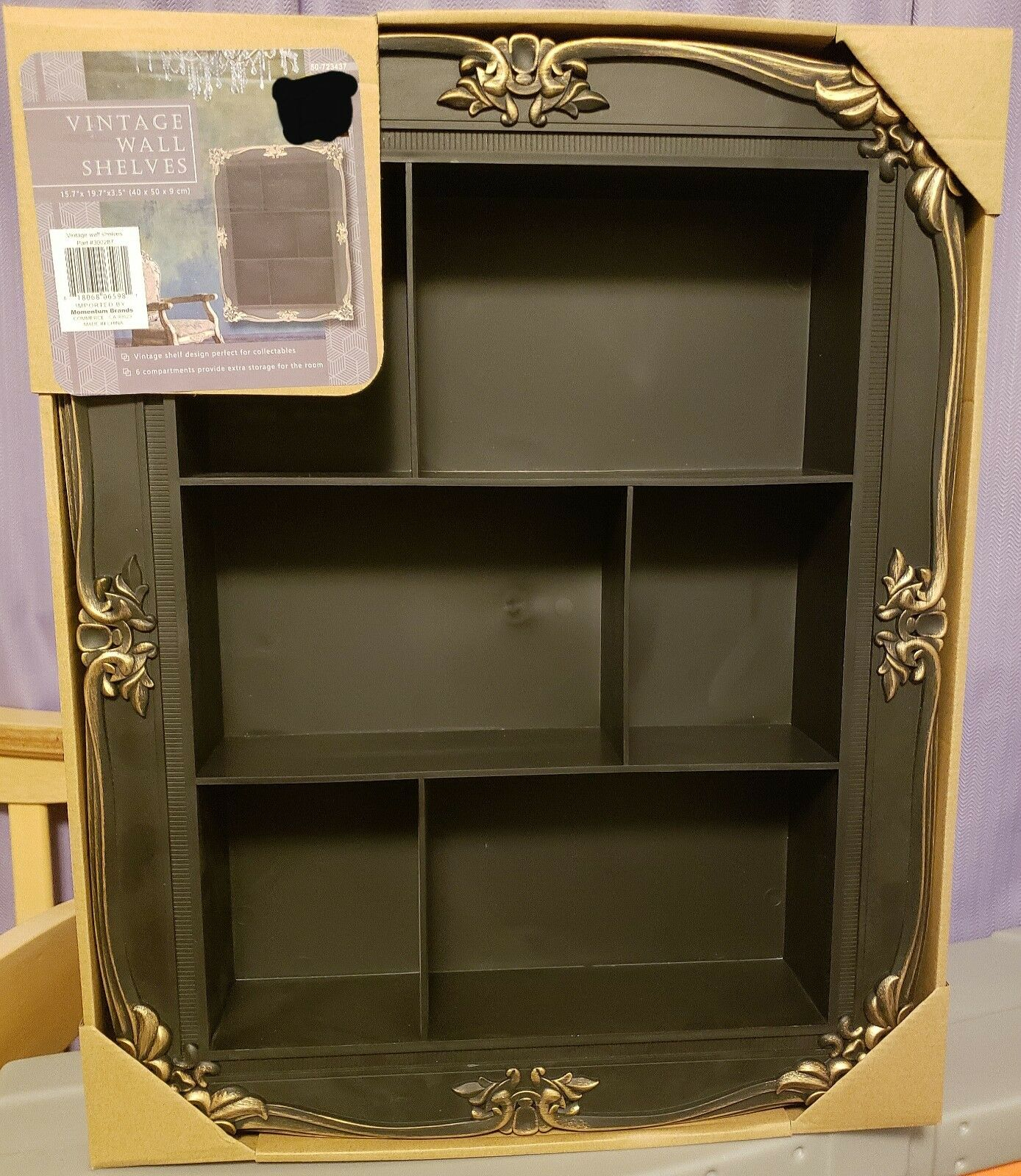 """Tuscan* 157x197"""" Wall Shelves Old World Vintage Style Plastic Black Faux  Wood"""