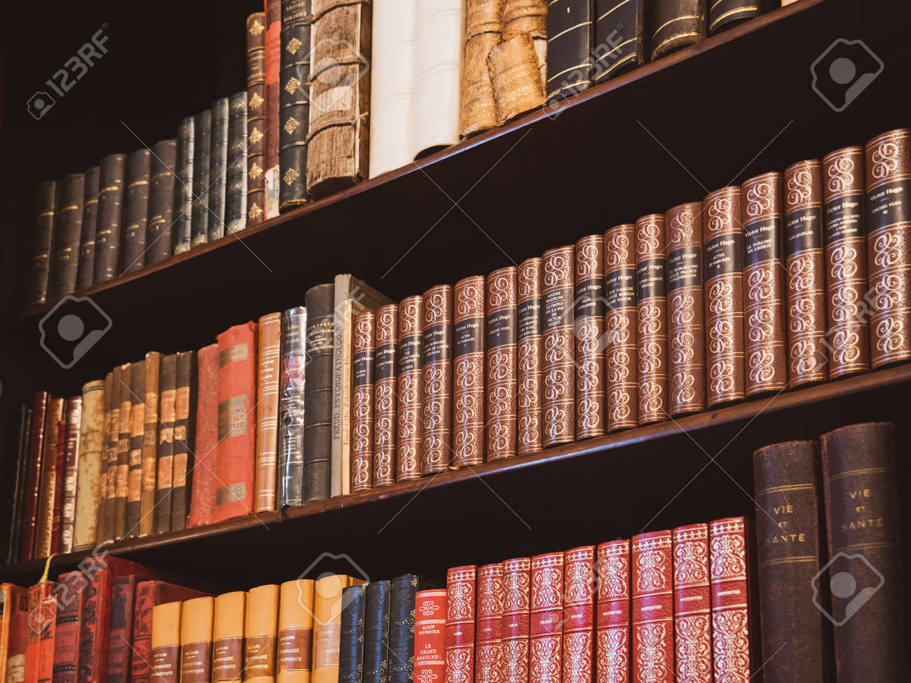 Multiple Old Books In An Old Shelves In Old Library Room