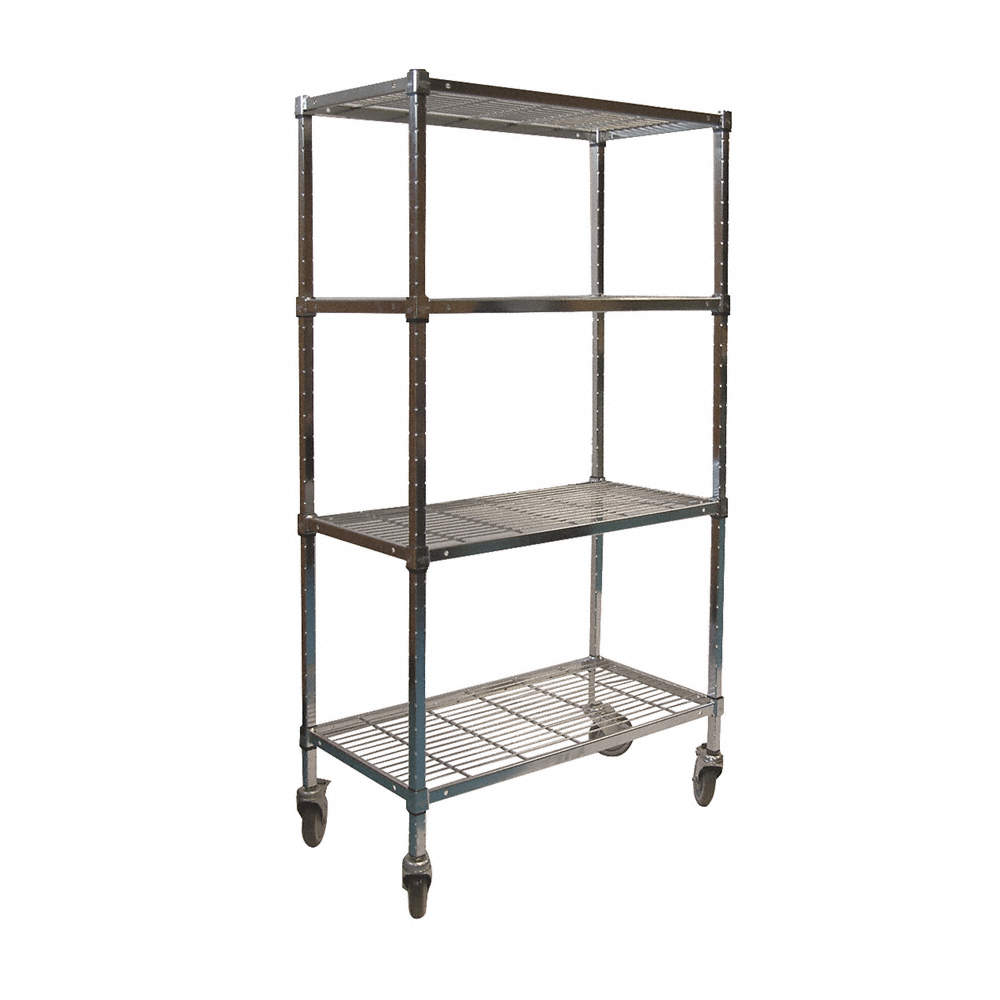 """Mobile Wire Shelving Unit, 72""""w X 24""""d X 70""""h, 4 Shelves, Chrome Plated  Finish, Silver"""