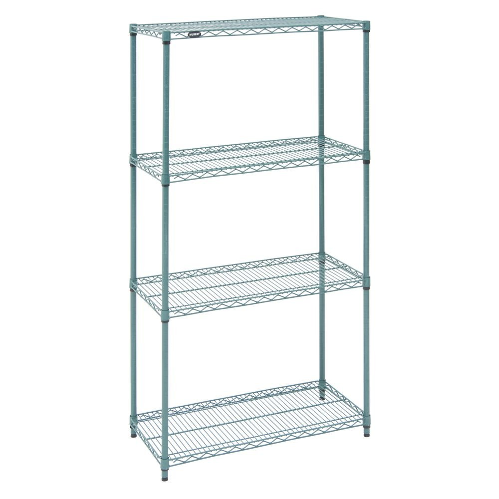 """Hubert Shelving Unit With 4 Shelves Green Wire - 36"""" L X 18"""