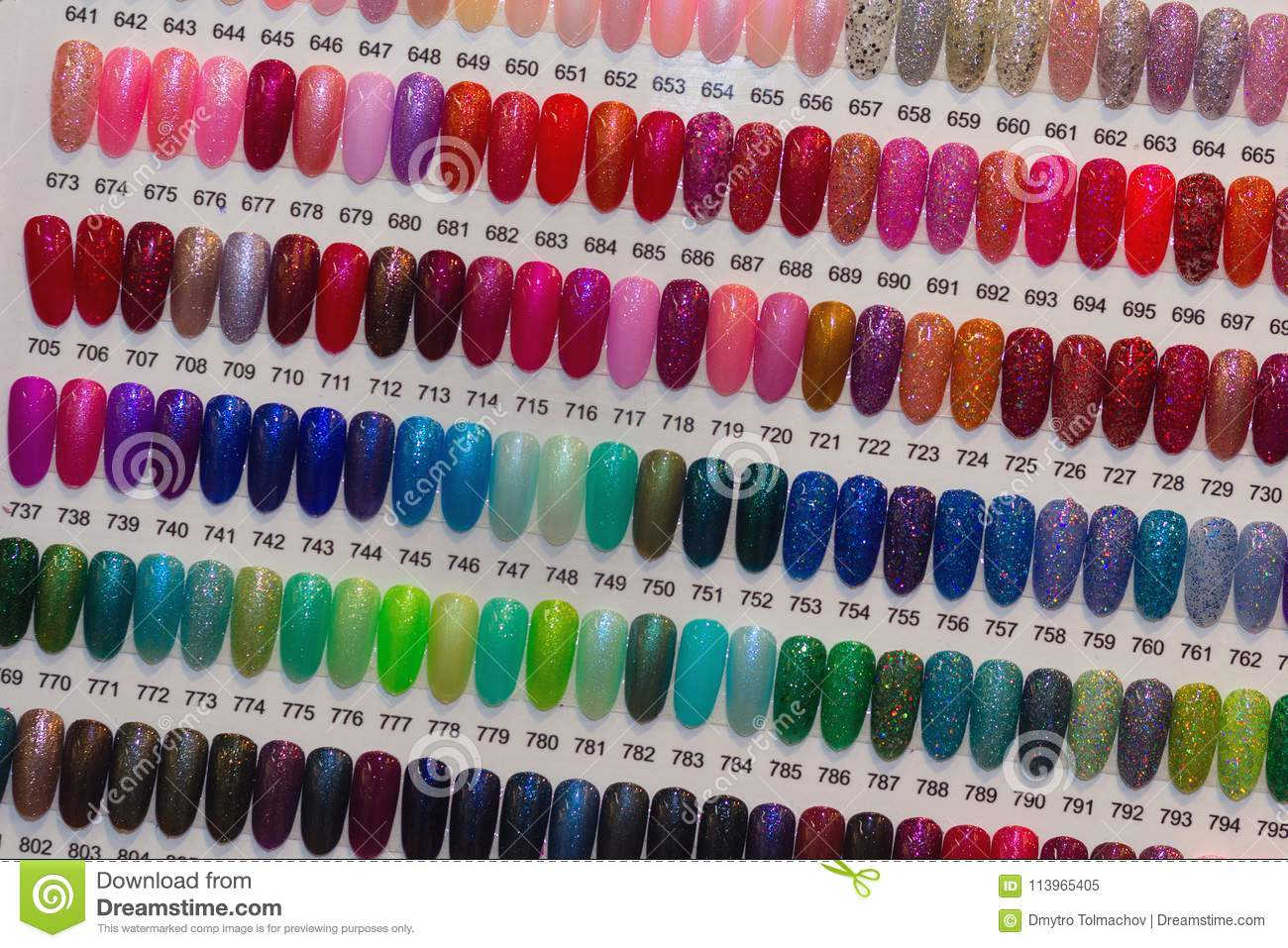 Colorful Artificial Nails On Shelves Stock Image - Image Of Hand