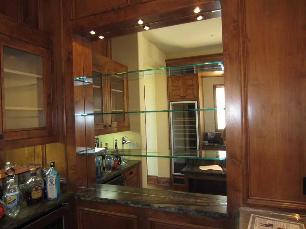 Glass Shelves And Bar Mirror - Patriot Glass And Mirror