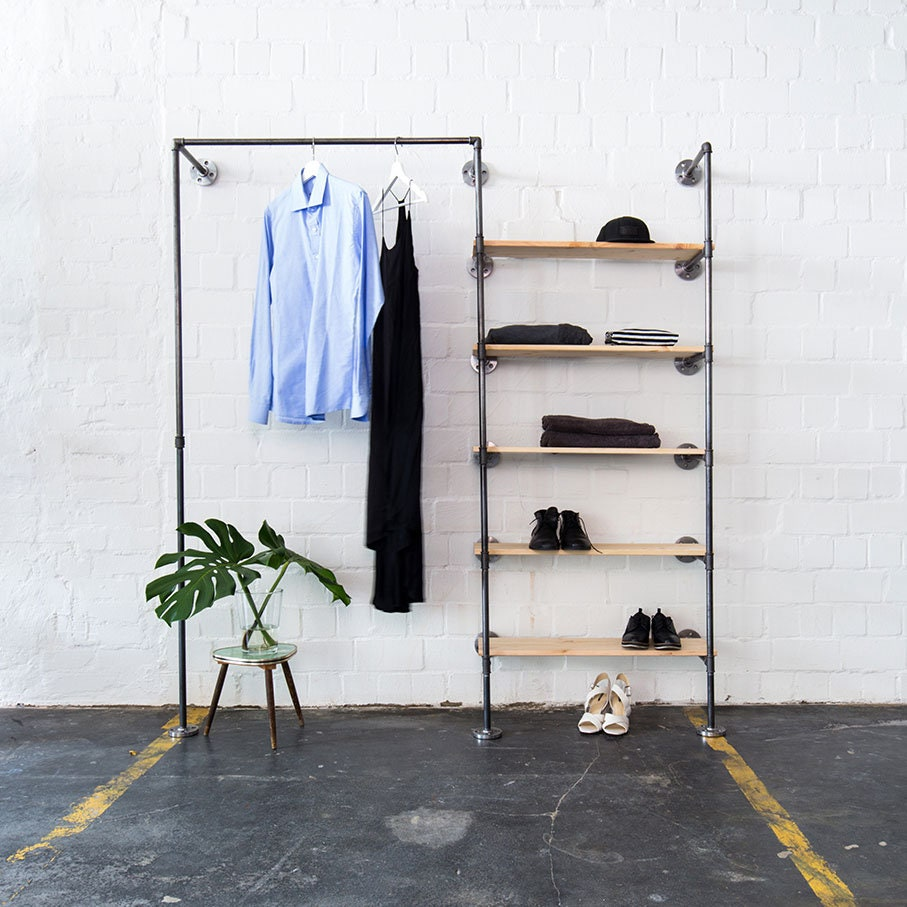 Industrial Clothing Rail With Shelves - Steel Pipes - Clothes Stand - Open  Wardrobe - Space Low